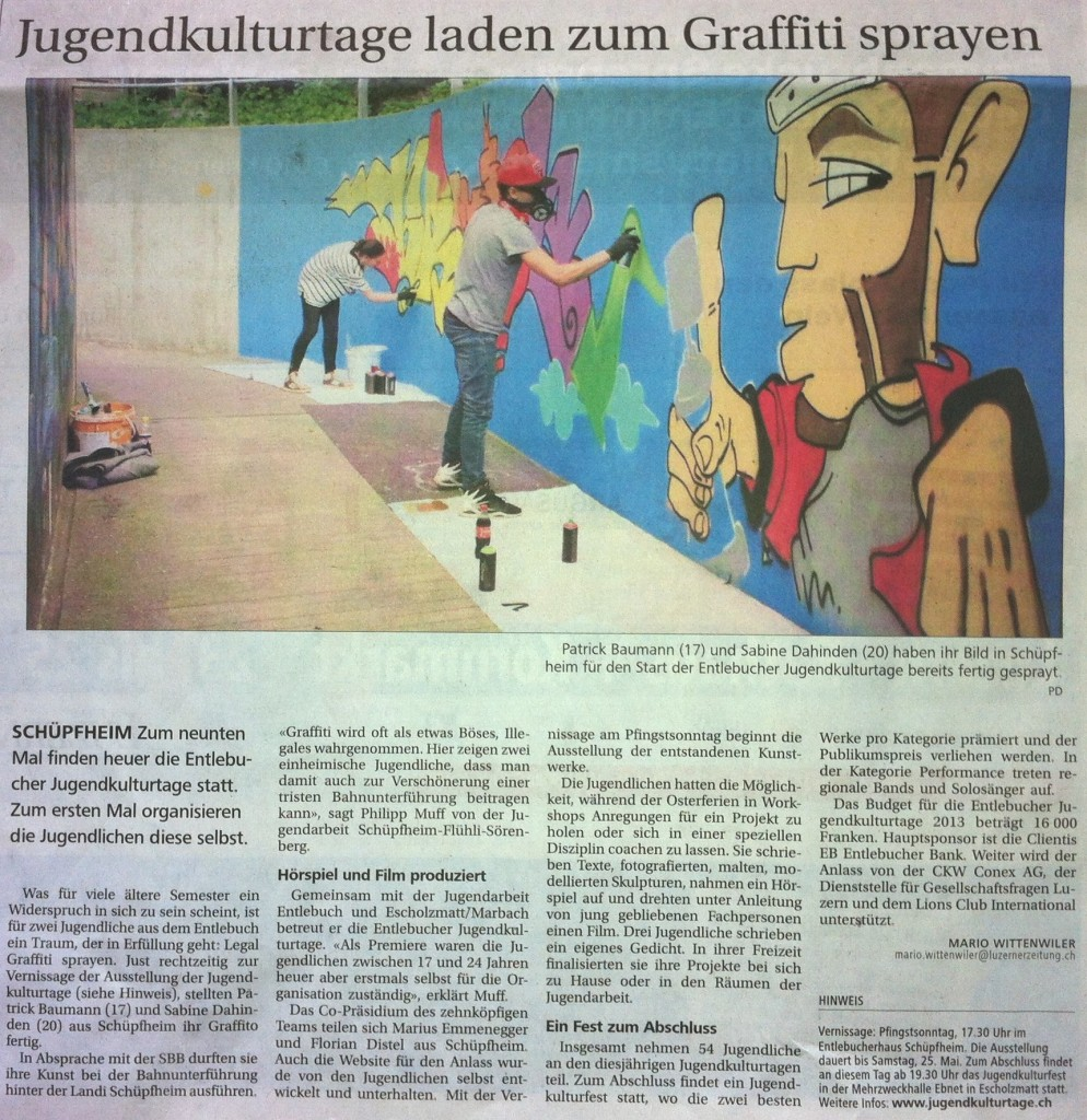 Jugendkulturtage; Zeitungsbericht NLZ 17.05.13