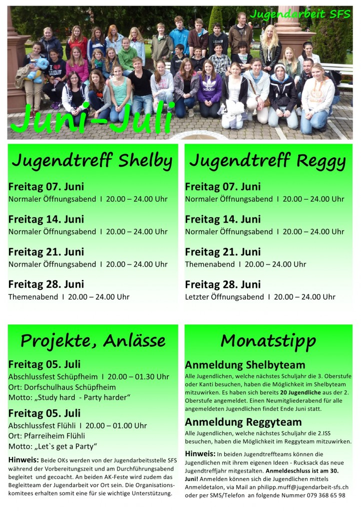 Programm bis Ende Juli